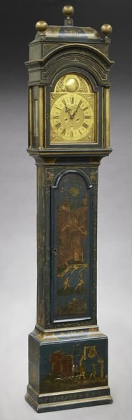 English brass dial chinoiserie longcase clock