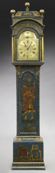 English brass dial chinoiserie longcase clock - 2