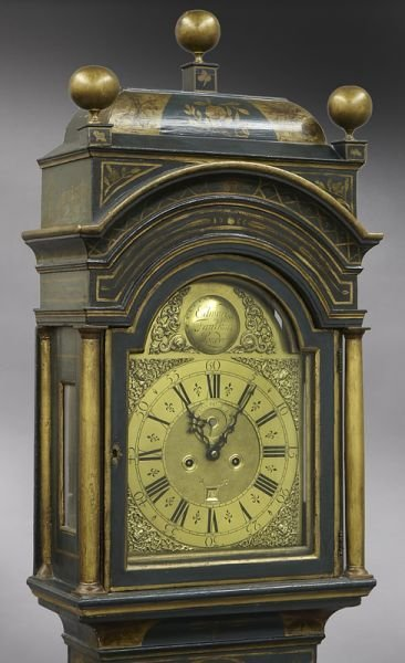English brass dial chinoiserie longcase clock - 4