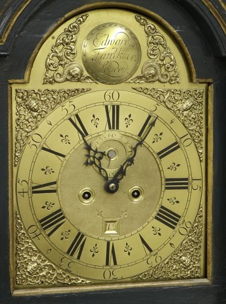English brass dial chinoiserie longcase clock - 7