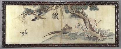 Large Chinese Qing rosewood framed Canton School