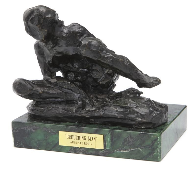 "Auguste Rodin, ""Homme accroupi"" bronze"