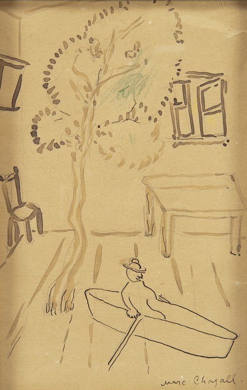 "Marc Chagall, ""Tree and Boat"" ink with traces of"