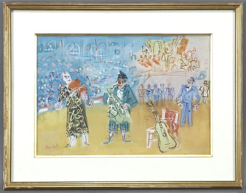 "Jean Dufy, ""Clowns musiciens"" watercolor and"