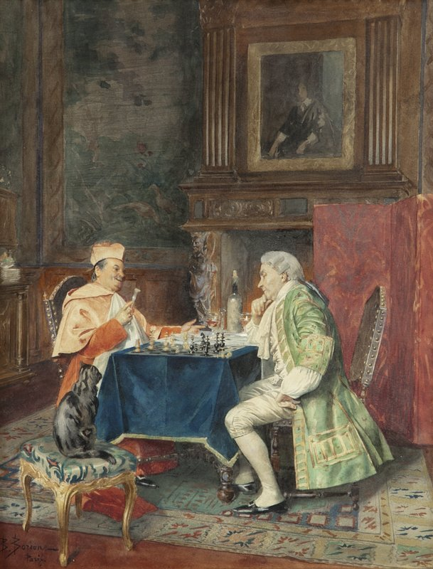 "Bernard Borione, ""A Game of Chess"" watercolor"