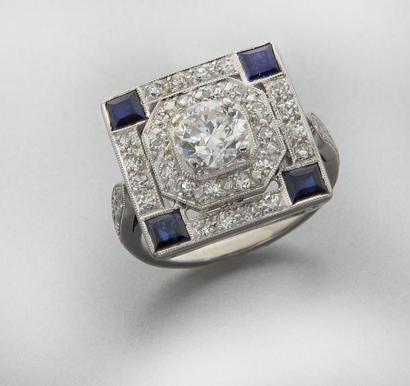 14K gold, diamond (EGL USA) and sapphire ring