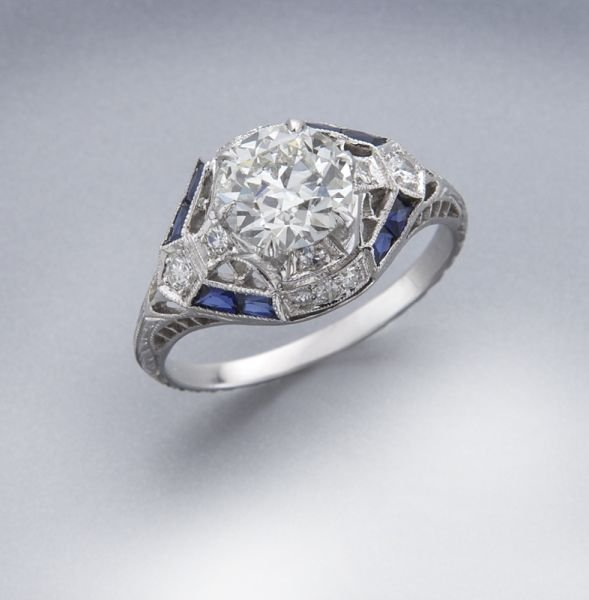 Edwardian 18K gold, diamond and sapphire ring