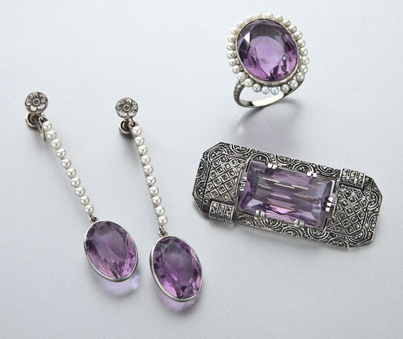 3 Pcs. amethyst, gold, silver and seed pearl