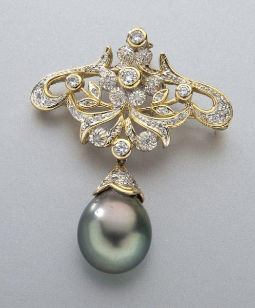 Art Nouveau 18K, diamond and Tahitian pearl brooch