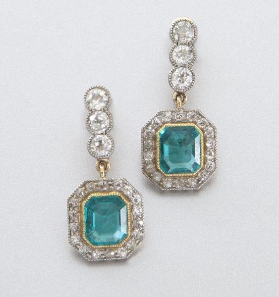 Edwardian platinum, 14K, emerald and dia. earrings