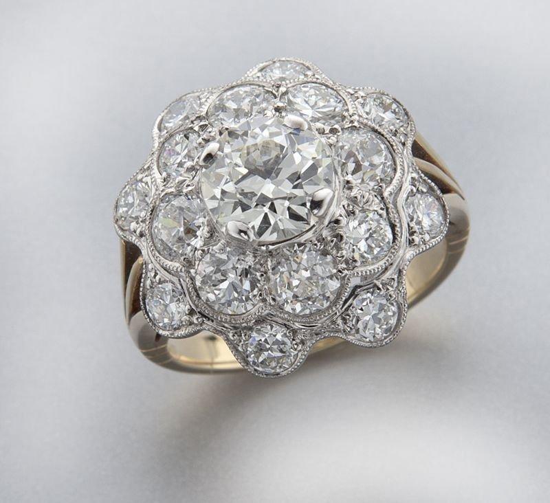 Edwardian/Art Deco 14K gold and diamond ring