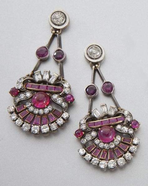 Art Deco gold, ruby and diamond earrings