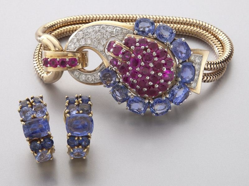 2 Pcs. Art Deco sapphire, ruby and diamond jewelry