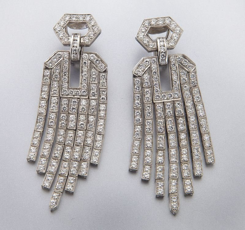 Art Deco style platinum and diamond earrings