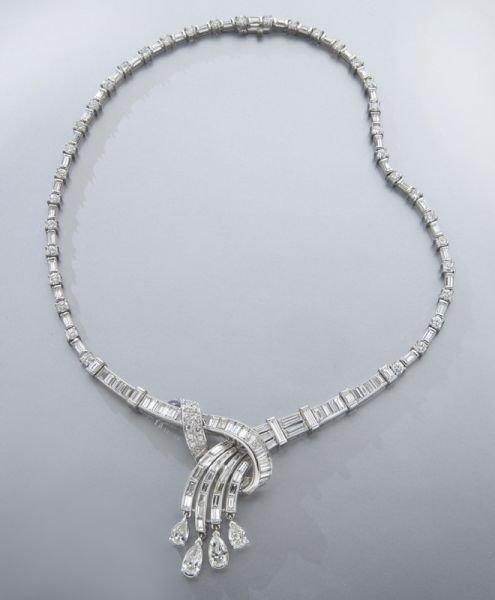 Retro platinum and diamond cascade necklace