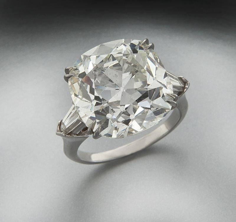 Platinum and 15.20 ct. (GIA) diamond ring