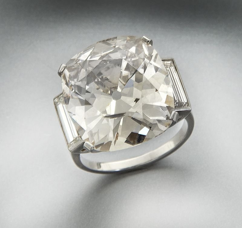 Platinum and 15.35 ct. (GIA) diamond ring