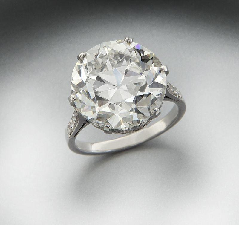 Platinum and 10.34 ct. (GIA) diamond ring