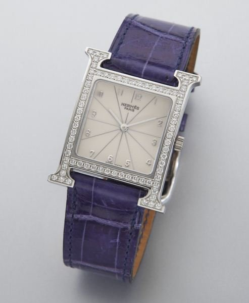 "Hermes ""H Hour"" stainless steel and diamond watch"
