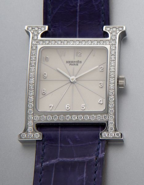 "Hermes ""H Hour"" stainless steel and diamond watch - 2"