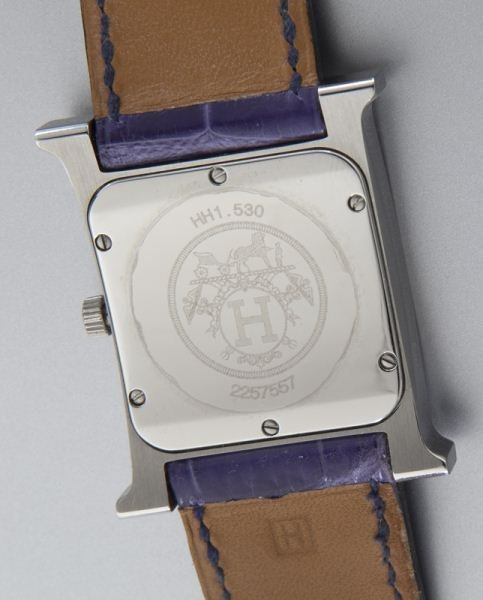 "Hermes ""H Hour"" stainless steel and diamond watch - 4"