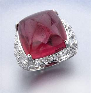 John Hardy 18K gold, diamond and tourmaline ring,