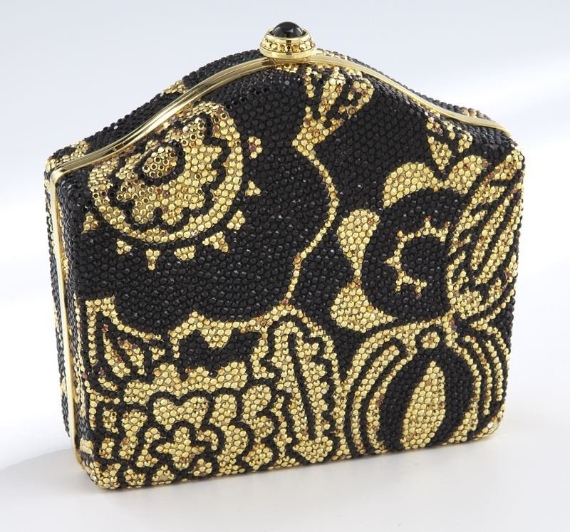 Judith Leiber black and gold crystal minaudiere,