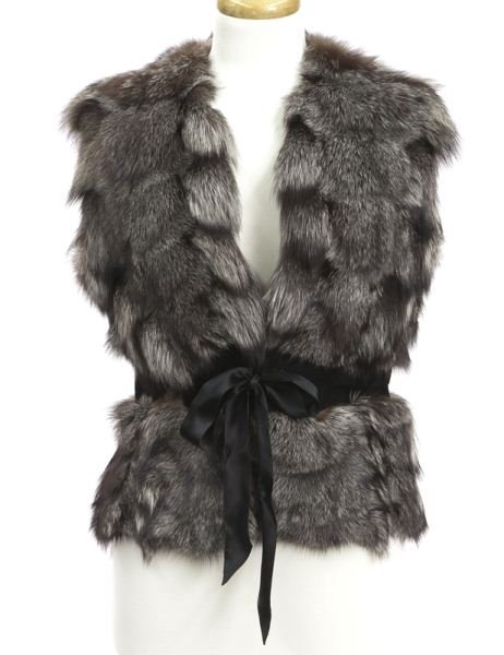 Tuleh silver fox and suede vest,