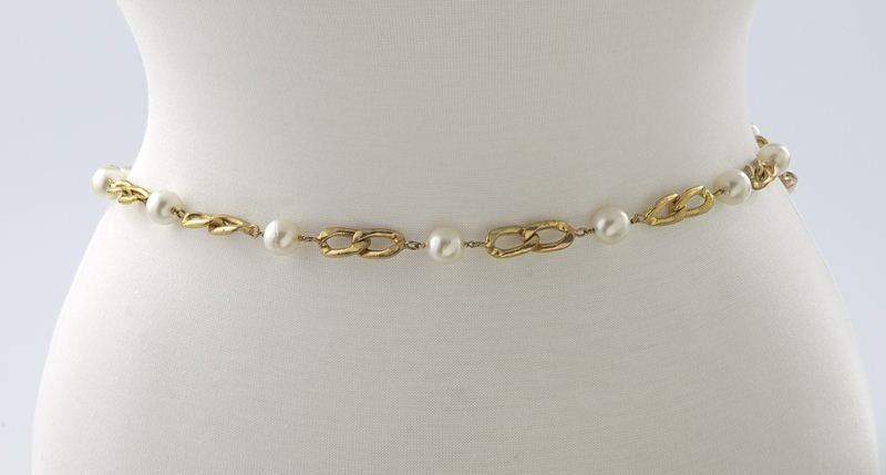 Chanel gold tone and faux-pearl belt - 2
