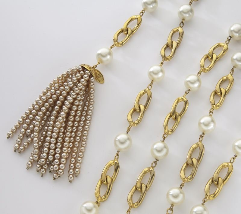 Chanel gold tone and faux-pearl belt - 3
