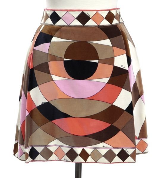 Retro Emilio Pucci printed velvet mini skirt