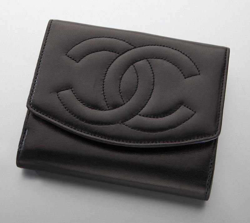 Chanel black lambskin monogram wallet