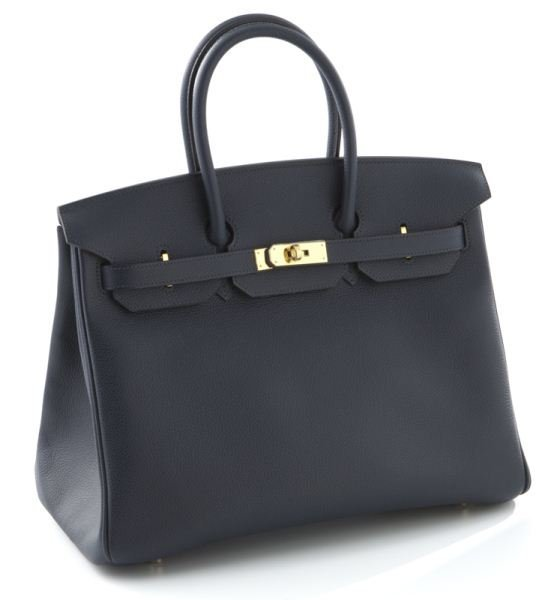 Hermes 35 cm Blue Obscure Togo leather Birkin