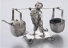 Hung Chong Chinese silver figural condiment set