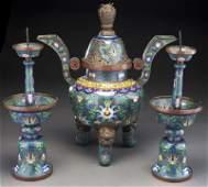 3 Pc. Chinese Qianlong style cloisonne altar set