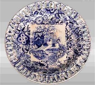 English transferware reticulated plate