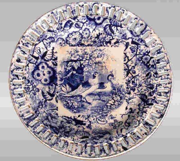 6: English transferware reticulated plate