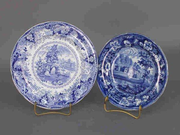 9: 2pcs. Blue English transferware plates.