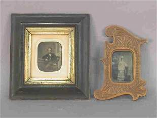 (2) antique photos in wood frames