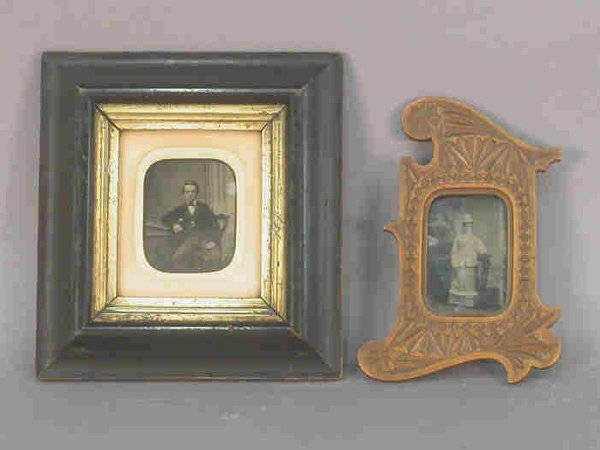 10: (2) antique photos in wood frames