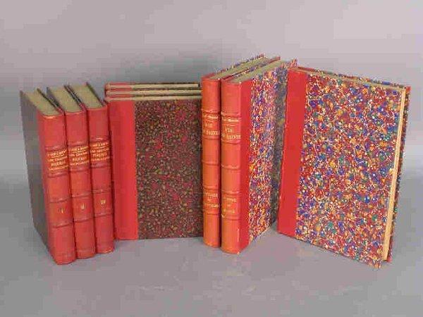 12: (9) Quarter leather bound books.