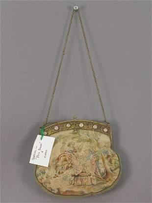 Vintage purse with miniature portraits