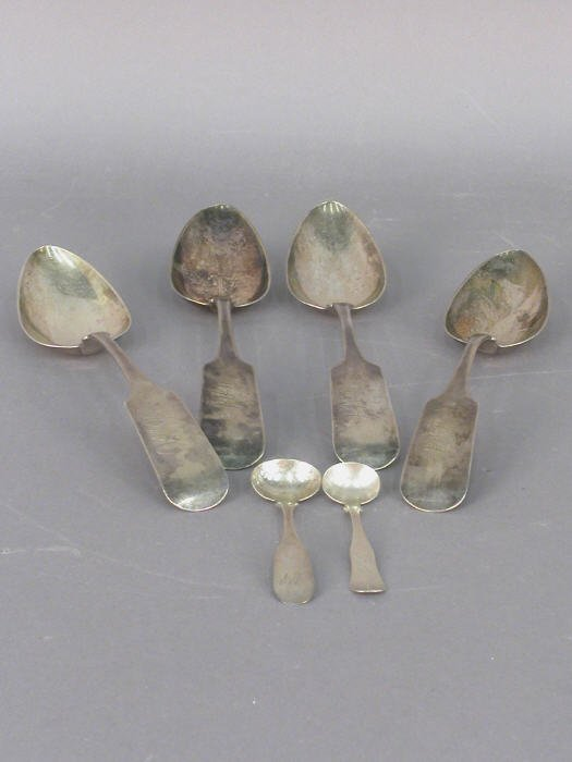 17: Set/4 c.1840 Coin Silver tablespoons