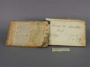 Hand made book by James Mandigo, 1839