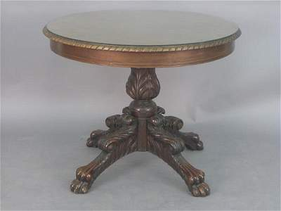 105: Mahogany center table with highly