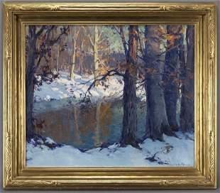 """Emile Albert Gruppe, """"Winter Splendor"""" oil on"""