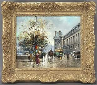 """Antoine Blanchard, """"Quai du Louvre"""" oil on"""
