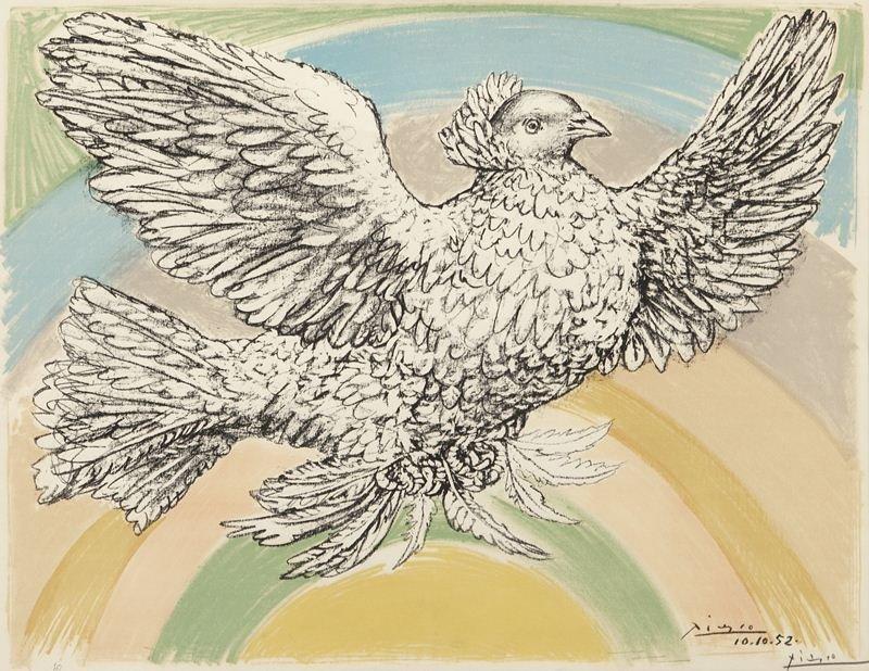 """Pablo Picasso, """"Colombe Volant à L'Arc en Ciel"""" - 2"""