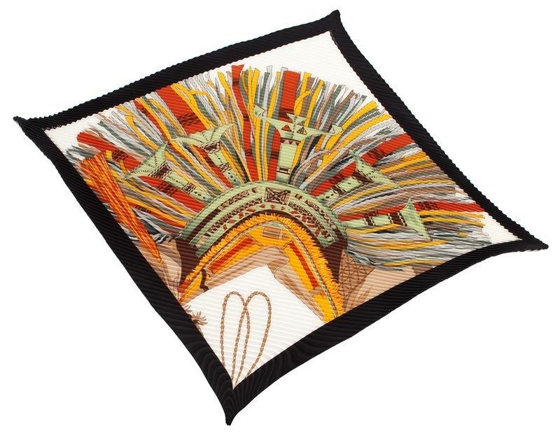 "Hermès pleated silk ""Cuirs du Desert"" scarf,"