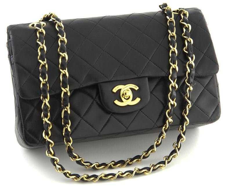9c05789f2f778f Chanel 23 cm black calf skin double flap bag